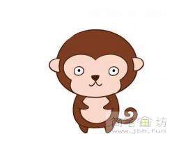 呆萌的猴子简笔画图片【彩色简笔画】