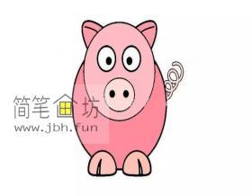 一步步的教你画小红猪的简笔画