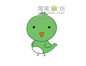 卡通绿色小鸟的简笔画图片