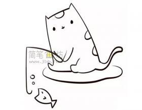 儿童简笔画小猫钓鱼的画法教程