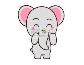 可爱的卡通大象简笔画教程【彩色】
