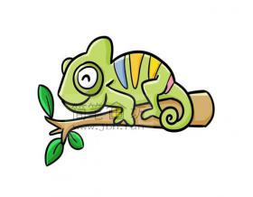 儿童画教程_彩色变色龙儿童简笔画画法步骤详解