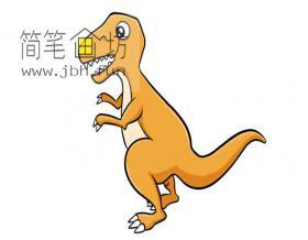 彩色食肉恐龙的简笔画绘画步骤【彩色】