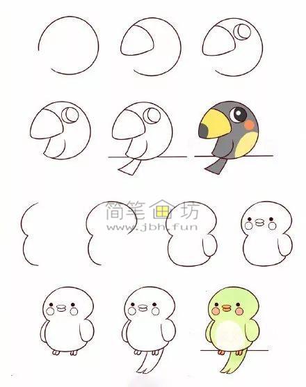 怎么画小鸟?8种可爱的小鸟简笔画画法教程(4)