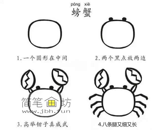 简单易学的螃蟹简笔画画法步骤教程(1)