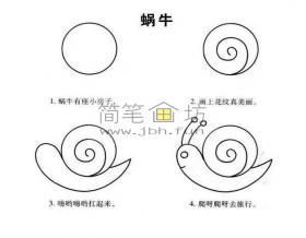 4个简单的步骤学会画蜗牛简笔画