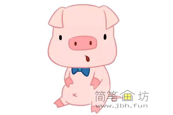 卡通小猪的简笔画素材【彩色】(1)