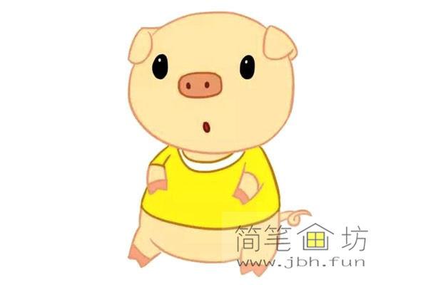 卡通小猪的简笔画素材【彩色】(2)