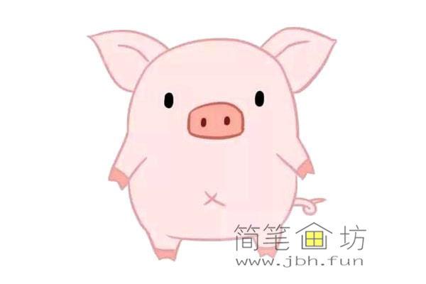 卡通小猪的简笔画素材【彩色】(3)
