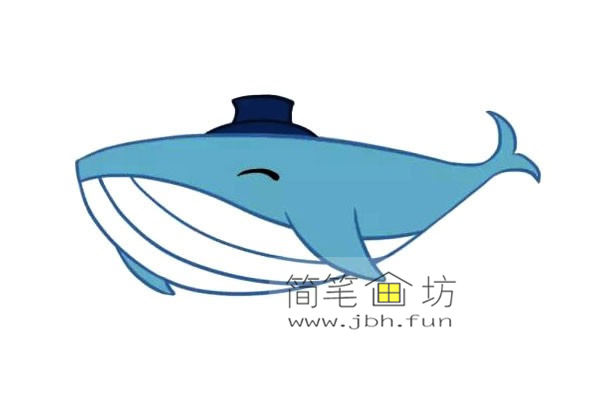 鲸鱼的简笔画素材【彩色】(3)