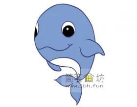 鲸鱼的简笔画素材【彩色】