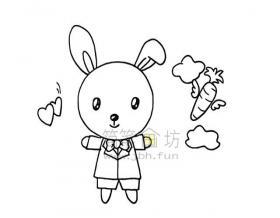 爱吃胡萝卜的小白兔简笔画教程