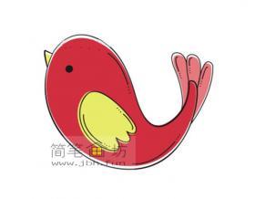漂亮的小鸟的简笔画素材大全【彩色】