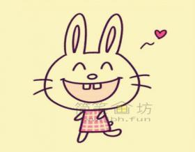超萌的小兔子简笔画绘画教程【彩色】