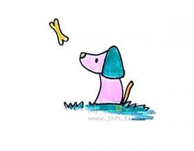 吃骨头的小狗简笔画绘画教程【彩色】