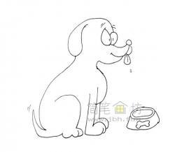 吃食的小黄狗简笔画绘画步骤