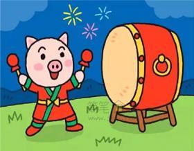 打鼓的小猪简笔画步骤图解教程【彩色】