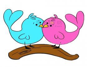 代表爱情的小鸟简笔画步骤图片【彩色】