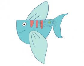 蓝色的飞鱼简笔画教程图片大全【彩色】