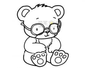 戴眼镜的小熊简笔画图片赏析
