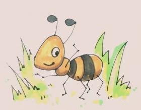 勤劳的小蚂蚁简笔画画法【彩色】