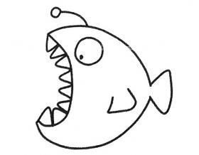4步学会画灯笼鱼简笔画