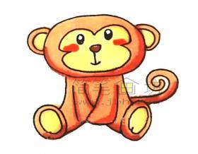 可爱的猴子简笔画绘画步骤教程