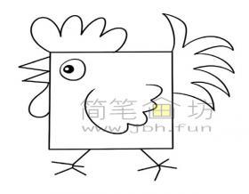 方形公鸡简笔画怎么画