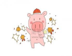 放炮仗的小猪简笔画【彩色】