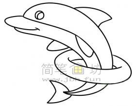 钻圈的海豚简笔画绘画步骤及图片大全