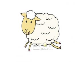 欢乐的小羊简笔画画法【彩色】