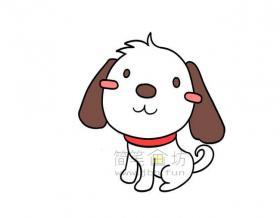 活泼可爱的小狗简笔画画法【彩色】