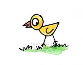 可爱的小鸡简笔画绘画步骤【彩色】