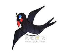 轻灵的小燕子简笔画绘画步骤教程【彩色】
