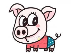 胖嘟嘟的小猪简笔画画法教程【彩色】