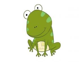 害羞的青蛙简笔画绘画步骤教程【彩色】
