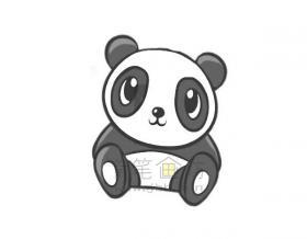 坐在地上的大熊猫简笔画怎么画【彩色】