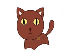 简单几步学会画猫咪简笔画【彩色】