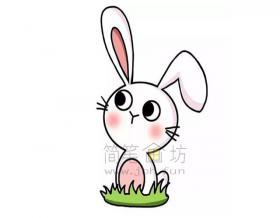 可爱的兔子简笔画绘画步骤【彩色】