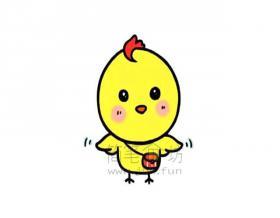 可爱的小黄鸡简笔画画法【彩色】