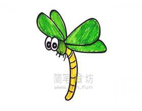 漂亮的蜻蜓简笔画步骤图解教程【彩色】