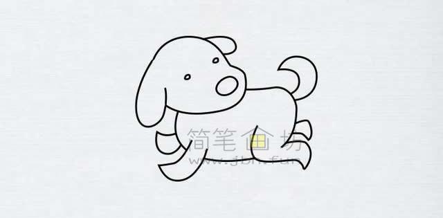 顽皮的小狗简笔画画法【彩色】(8)