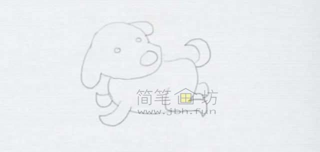 顽皮的小狗简笔画画法【彩色】(7)