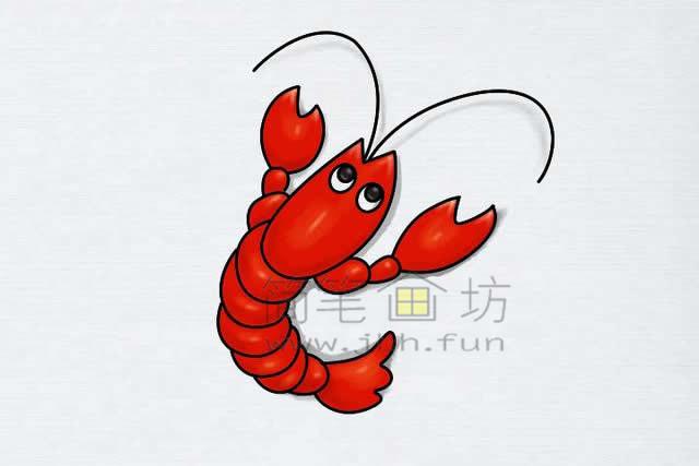 美味的小龙虾简笔画绘画步骤【彩色】(9)