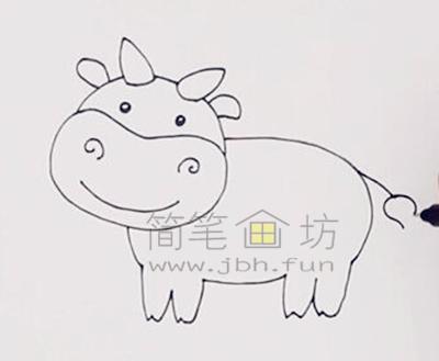 萌萌的奶牛简笔画画法教程【彩色】(2)