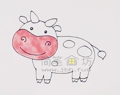 萌萌的奶牛简笔画画法教程【彩色】(3)