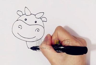 萌萌的奶牛简笔画画法教程【彩色】(1)