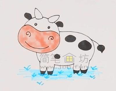 萌萌的奶牛简笔画画法教程【彩色】(4)