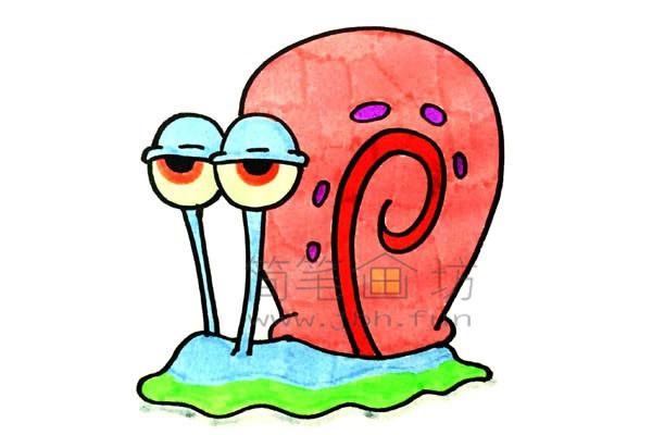 一起来学习画卡通蜗牛简笔画【彩色】(9)