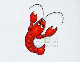 美味的小龙虾简笔画绘画步骤【彩色】
